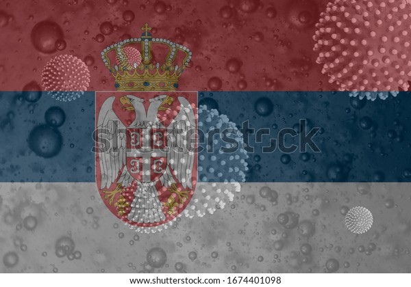 3D illustration of covid-19 corona virus floating in liquid with Serbian flag