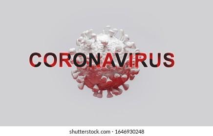 Ilustración 3D para Coronavirus una infección pandémica, virus MERS, concepto del Síndrome Respiratorio 2019-ncov para revistas científicas noticias tv banner web periódico