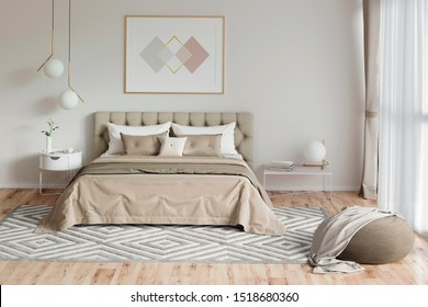 3d illustration. Cozy bedroom in warm colors with painting, a nightstand, a pouf, and a plaid. Front view