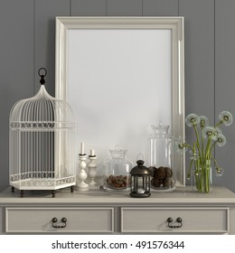 3d illustration. Cozy interior in a light gray color with a beige table, poster frame and autumn decorations
