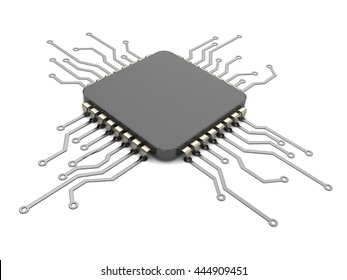 3d illustration of cpu and circuit over white background