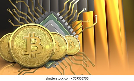 3d illustration of cpu over golden charts background with bitcoins row