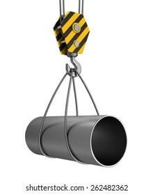 3d illustration of crane hook carrying pipe