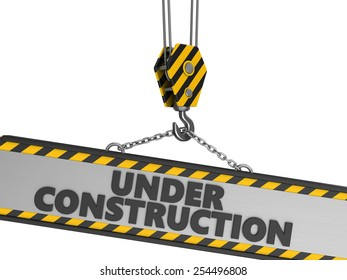 3d illustration of crane hook and under construction sign over white background