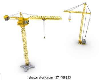 3d illustration of crane over white background with crane