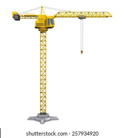 3d illustration of crane tower isolated over white