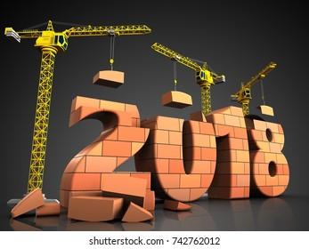 3d illustration of cranes building bricks 2018 text over black background