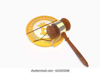 3D illustration of Crashed Bitcoin with Judge's Gavel (Hammer) lying on top. Cryptocurrency legal law regulations concept.