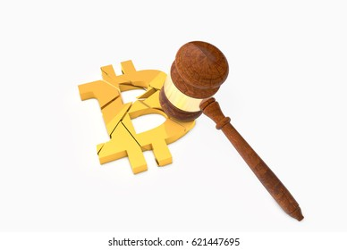 3D Illustration of a Crashed Bitcoin Logo with Judge's Gavel (Hammer). Cryptocurrency legal law regulations concept.
