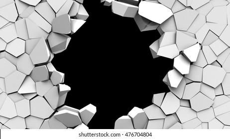 3d illustration of crashed wall hole over black background