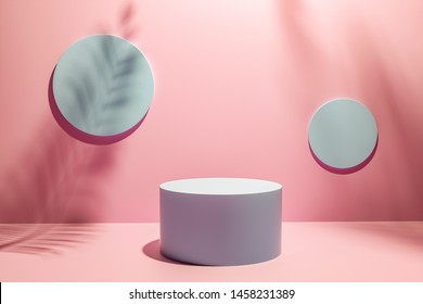 3D Illustration Creative layout made of Pink studio background for product placement or display with a circular plinth in front of two blank round wall plaques with the shadows of palm tree fronds.