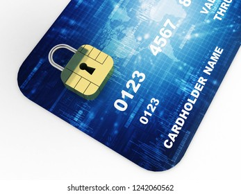 3d illustration credit card with lock