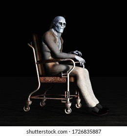 3D illustration of creepy blue skinned old man wearing dirty clothes skinned old man in wheeled chair