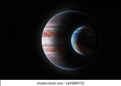 3D Illustration Crescent of Jupiter and Earth
