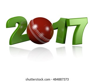 3D illustration of Cricket ball 2017 design with a white Background