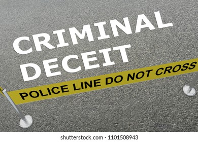3D illustration of CRIMINAL DECEIT title on the ground in a police arena