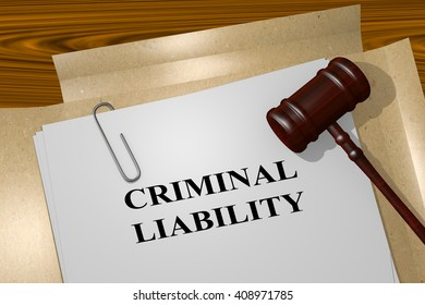 3D illustration of CRIMINAL LIABILITY title on Legal Documents. Legal concept.