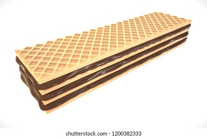 3d illustration. Crispy wafers with chocolate, wafer design element.