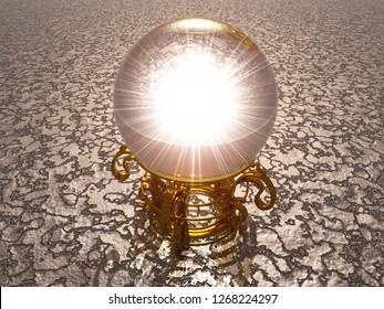3D Illustration - cristal ball on silver ground