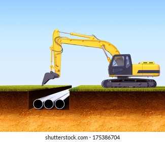3d illustration of a cross section of ground and excavator wearing metal pipes