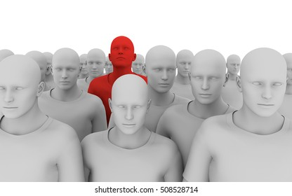 3d illustration of a crowd of similar individuals, with one in the crowd a different colour, looking up. Perfect for leadership material, forward thinking presentations and material.