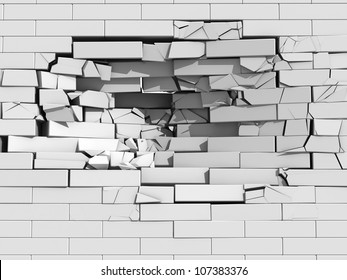 3d illustration of a crumbling brick wall with debris and chunks of masonry cascading downwards from a large hole
