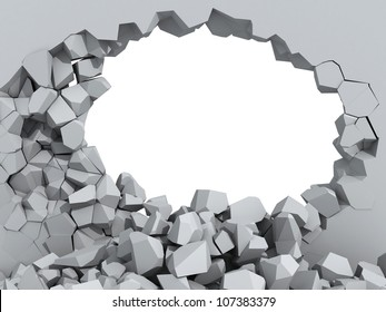 3d illustration of a crumbling concrete wall and a large hole with white copy space behind