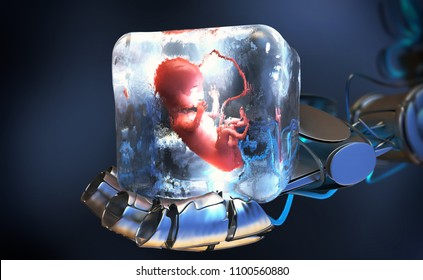 3d illustration of a cryopreserved fetus frozen into ice cube held by robotic arm