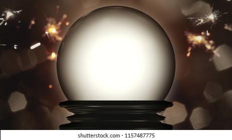 3d illustration of a crystal ball fortune teller