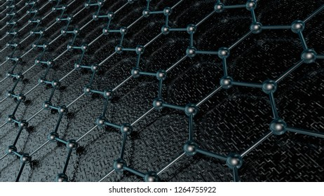 3D illustration of a crystal lattice of graphene, carbon molecule, superconductor of the future on a dark background. Abstraction, the idea of 3D nanotechnology rendering with depth of field
