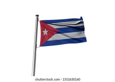 3d illustration of Cuba Flag waving. National Flag of Cuba on Pole.