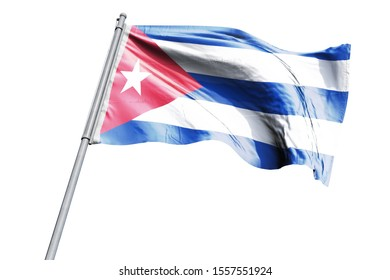 3d illustration of Cuba Flag waving. National Flag of Cuba on flag pole for Independence day.