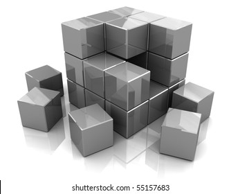 3d illustration of cube construction with blocks, over white background