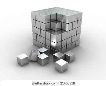 3d illustration of cube puzzle, construction, materila - stainless steel