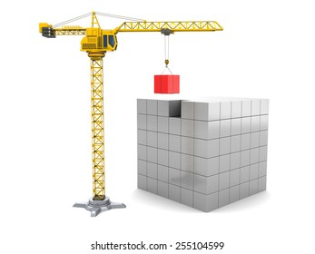 3d illustration of cubes construction with yellow crane tower