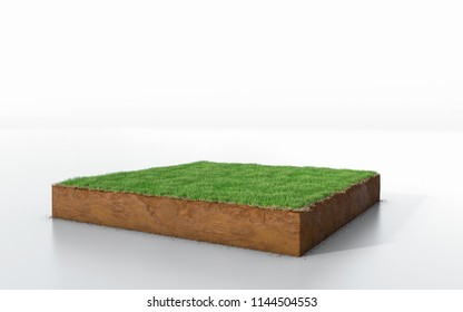 3D Illustration cubical soil land geology cross section with green grass, isolated earth mud ecology cut away