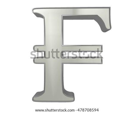 3 D Illustration Currency Symbol French Franc Stock Illustration