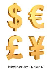 3D illustration of Currency Symbols Set on a white background.