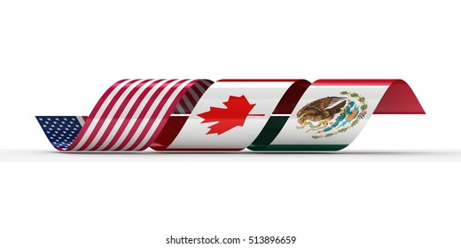 3D illustration of Curved Ribbon Flag of USA, Mexico and Canada