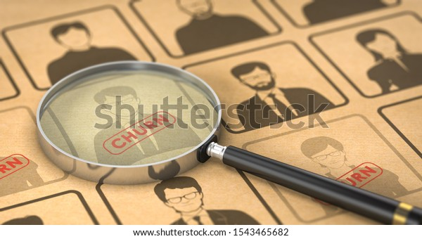 3D illustration of customers churn analysis