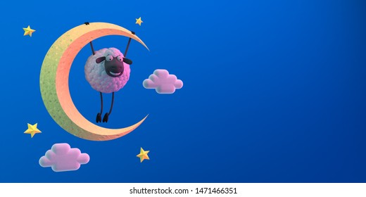 3d illustration cute cartoon sheep hanging on the moon on blue background