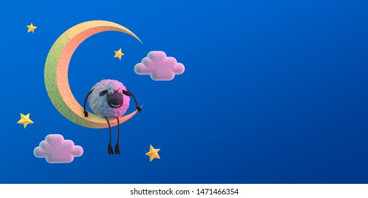 3d illustration cute cartoon sheep on the moon on blue background