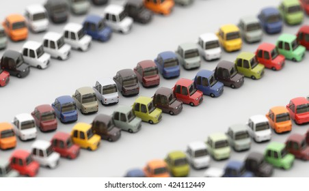 3d illustration of cute colored cartoon cars. Isometric view