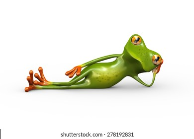 3d illustration of cute funny frog lying and resting on side with hand supporting his head