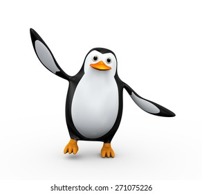 3d illustration of cute happy penguin dancing