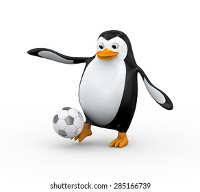 3d illustration of cute happy penguin striking soccer football ball