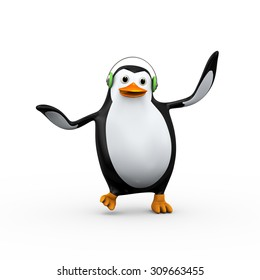 3d illustration of cute happy penguin wearing headphone listening,singing and dancing with music