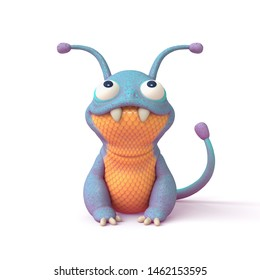 3d illustration of a cute little cartoon blue monster with a yellow belly sitting on white background. Concept art character of smiling frog mutant. Alien creature. Funny monster dragon with big teeth