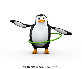 3d illustration of cute penguin  doing hula hoop exercise