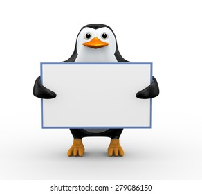 3d illustration of cute penguin holding blank empty white board
